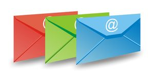 Rgb email envelop. Red Green Blue email envelop Stock Photography