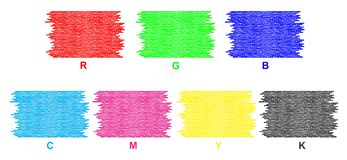 RGB en bakstenen muren CMYK stock illustratie