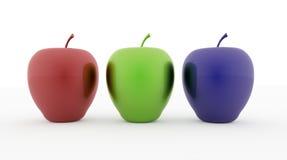 Rgb-färg för tre äpplen Arkivfoto