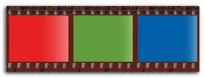 RGB filmstrip. Graduated RGB filmstrip royalty free illustration