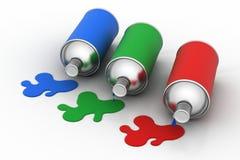 Rgb flessen van de kleurenverf Stock Foto