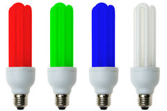 RGB fluorescent light bulbs Stock Photos