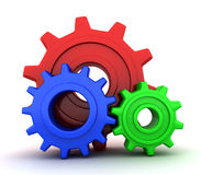 RGB gears. Gears RGB (on white background, done in 3d vector illustration
