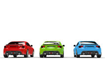RGB generic sports cars - back view Stock Photos