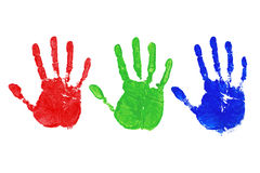 RGB hand prints. Three painted hand prints in Red, Green and Blue, colour coded to 255 for each individual colour royalty free stock image