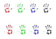 Rgb Hand Prints Royalty Free Stock Photo