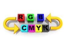 Rgb a la conversión del cmyk stock de ilustración