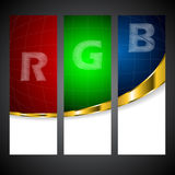 Rgb label set with scribble letters Royalty Free Stock Images