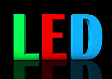 RGB LED. Colorful text LED on the black background Royalty Free Stock Photos