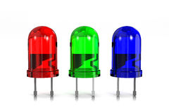 RGB Led Diodes. RGB Red, Green and Blue Led Diodes on White Background 3D Illustration stock illustration
