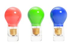 Rgb light bulbs in a row Royalty Free Stock Photo