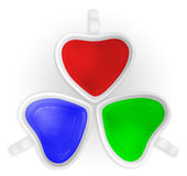 RGB love cups isolated. (red green blue stock image