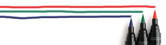 RGB markers header. Header for a web site with red, green and blue lines and markers Royalty Free Stock Images