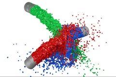 RGB målar färgstänk Fotografering för Bildbyråer