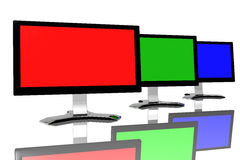 RGB monitors. Isolated over white background Stock Photo