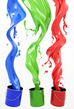 RGB Paint. Definition of RGB color system. Three colors in the form of liquid on a white background