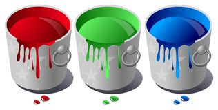 Rgb paint bucket Royalty Free Stock Photo