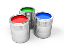 RGB Paint Cans. Red, Green and Blue Paint Cans on white - 3d render Royalty Free Stock Photo