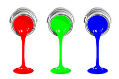 RGB paint cans. 3D illustration of RGB paint cans pouring inks isolated on white background Royalty Free Stock Photo