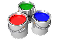 RGB paint cans (3D) Royalty Free Stock Photo
