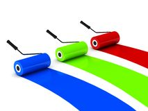 RGB paint roller Royalty Free Stock Photography