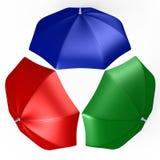 RGB paraplu's van hoogste mening - een 3d beeld Stock Afbeeldingen