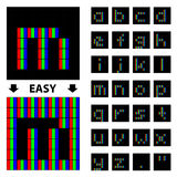 Rgb-Pixelkleingussalphabet Lizenzfreie Stockbilder