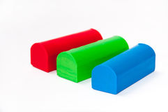 RGB plasticine on a white background Stock Photography