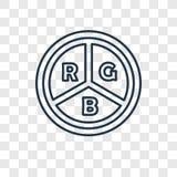 Rgb pojęcia wektorowa liniowa ikona na przejrzystym backgroun royalty ilustracja