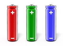 RGB power - three colourful battery Stock Photos