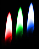 RGB red green blue candles Stock Photography