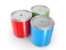 RGB or Red Green Blue paint cans Stock Photography