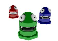 RGB Robot Toys. 3 3d robot toys in red green and blue Stock Image