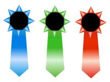 RGB rosettes - winner ribbon. Vector illustration of 3 RGB blank rosettes isolated over white background Royalty Free Stock Photo