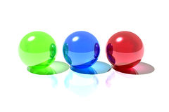 Rgb spheres. 3d render illustration of red, blue and green spheres isolated over white background Royalty Free Illustration