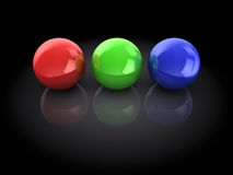 Rgb spheres. 3d illustration of three spheres, red, green and blue Royalty Free Stock Images