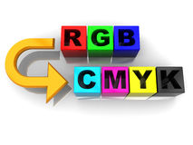 Rgb to cmyk conversion. Abstract 3d illustration of rgb to cmyk conversion symbol Royalty Free Stock Image