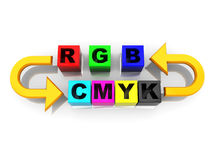 Rgb to cmyk conversion. 3d illustration of rgb and cmyk conversion symbol Stock Photos