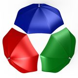 RGB umbrellas from top view - a 3d image Stock Images
