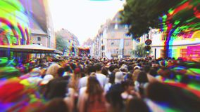 RGB verplaatsingseffect over vrolijke trotsparade in Europa Frankrijk stock footage