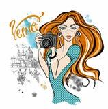RGBGirl tur?stico con una c?mara que toma im?genes de atracciones en Venecia Viajes Italia Vector stock de ilustración