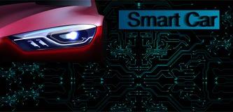 RGBSmart ou concept intelligent de vecteur de voiture Technique de l'automobile futuriste avec l'entraînement autonome, voitures  illustration stock