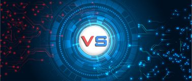 RGBVersus屏幕 战斗背景互相反对,红色对蓝色 抽象数字式和技术背景 皇族释放例证