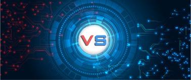 RGBVersus-Schirm Kampfhintergründe gegeneinander, rot gegen Blau Abstrakter digitaler und technologischer Hintergrund lizenzfreie abbildung