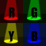 RGBY Presentation. Red, Green, Blue & Yellow presented under spotlights of each color royalty free illustration