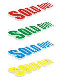 RGBY sold out text. Isolated red green blue yellow sold out text Stock Photography