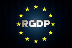 RGDP cyber security data concept with europe star flag with matrix on a blue background. RGDP cyber security data concept with europe star flag with matrix in Royalty Free Stock Images