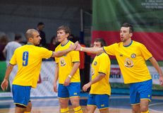 RGGU team rejoice. MOSCOW - DECEMBER 13: Unidentified players of RGGU team rejoice of a point on Minifootball tournament in memoriam Tofik Bahramov on  December Stock Images
