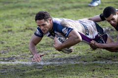 RGL: Rugby-Liga-Harlekine gegen Melbourne-Sturm Lizenzfreies Stockbild
