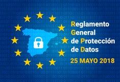 RGPD - испанский текст: Reglamento Генерал de Proteccion de Datos GDPR - Общая регулировка защиты данных Карта Испании иллюстрация штока